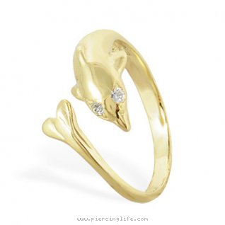 10K solid gold dolphin toe ring