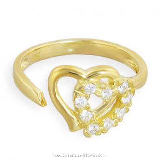 10K solid gold spiral toe ring with double jeweled hearts