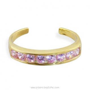 10K solid gold spiral toe ring with pink paved gems