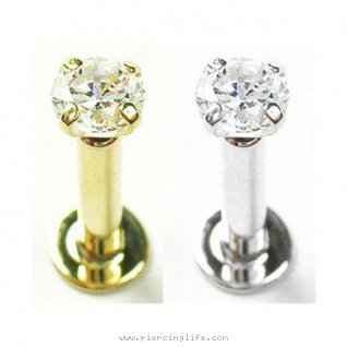 14K Gold Labret internally threaded with 3mm Genuine Diamond, 14 Ga