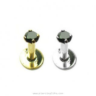 14K Gold Labret internally threaded  with Genuine Black Diamond, 14 Ga