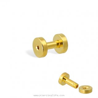 14K gold plated tunnel with threaded back, 10 ga