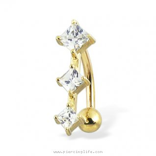 14K solid yellow gold reversed belly button ring with three square CZ