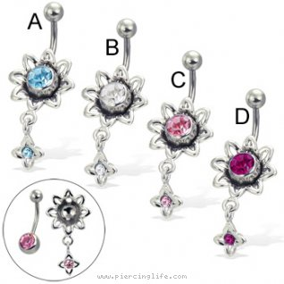 2-in-1 belly button ring with dangling flower (removable charm!)