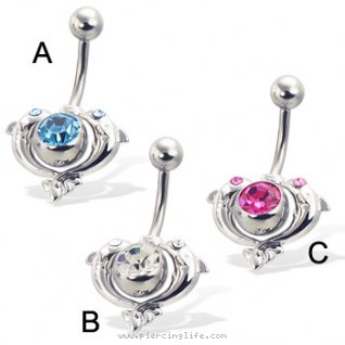 2-in-1 jeweled belly button ring with two dolphins