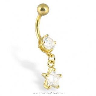 24k gold plated belly button ring with dangling star