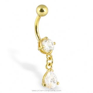 24K gold plated belly button ring with dangling teardrop