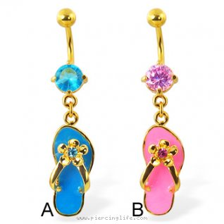 24K gold plated belly ring with dangling flip-flop