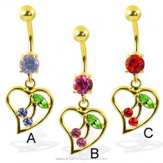 24K gold plated belly ring with dangling heart and cherry
