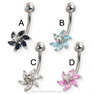 6-petal flower with raised center gem belly button ring