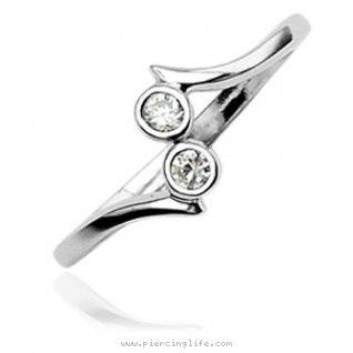 .925 sterling silver toe ring with two round gems