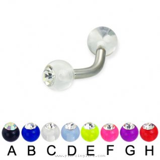 Acrylic ball with stone curved barbell, 12ga