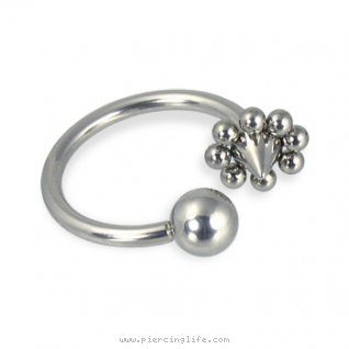 Ball and flower cone circular barbell, 14 ga