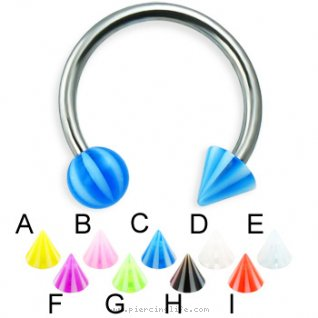 Beach ball and cone titanium circular barbell, 14 ga