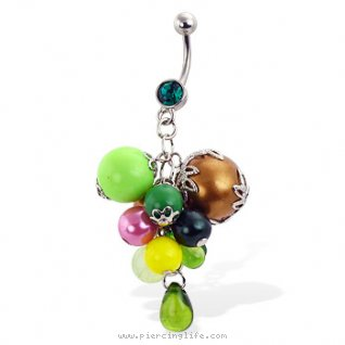 Belly button ring with multicolor beads dangle
