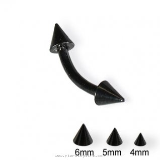 Black curved barbell with cones, 14 ga