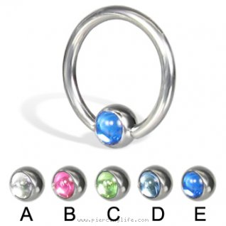 Captive bead ring with cabochon ball, 14 ga