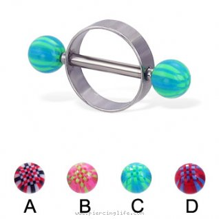 Nipple ring with acrylic checkered balls, 14 ga or 12 ga