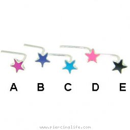 Silver L-shaped nose pin with enameled star
